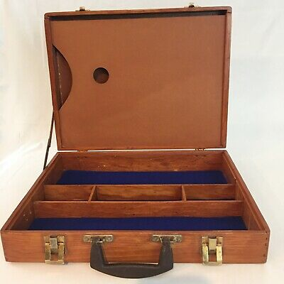 Vintage Artist Wood Painters Box Traveling Case Divided Suitcase Palette