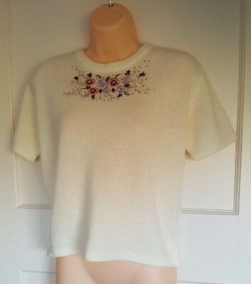 Vintage Cream Floral Embroidery Cropped Short Sleeve Jumper Top Size 14/16