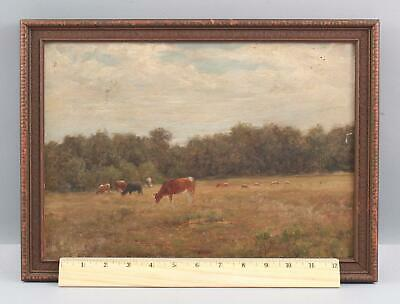 19thC Antique American Impressionist Country Cow Landscape Oil Painting, NR