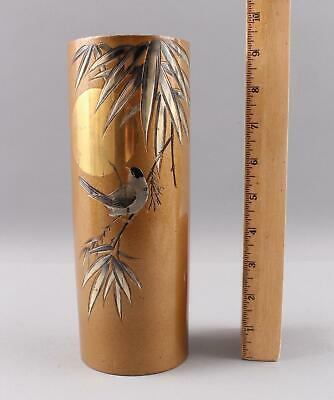 Antique Signed Japanese Finch Bird Gold & Silver Mixed Metal Bronze Vase, NR