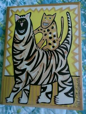 Pat Custer Denison 6x8 Tile Two Cats Nice!  Free Shipping
