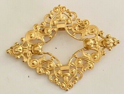 Vintage Gold Tone Filigree Ornate Detail Diamond Shape Brooch Pin Jewelry