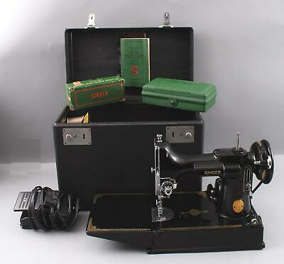 1950 Vintage SINGER 221-1 Featherweight Sewing Machine w/ Pedal, Extras & Case