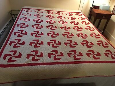 "Antique Mennonite Red & White Quilt 1860-1890 Whirligig Pinwheel 82""x71"""