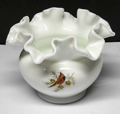 Fenton Milk Glass Cardinals in Winter Ruffled Short Vase Hand Painted & Signed
