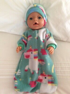 """Doll clothes - Sleeping Bag & Hat To Fit 17"""" Baby Born Doll ~ Mint / unicorns"""