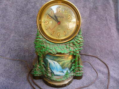 Vintage Mastercrafters Electric Clock Animated Motion Water Fall Model #344
