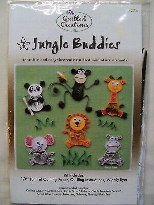 Jungle Buddies Quilled Creations Quilling Kit Miniature Animals Craft Kit  New