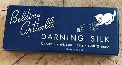 Belding Corticelli Darning Silk, New, Sealed Old Stock, Brown, Black Wood Spools