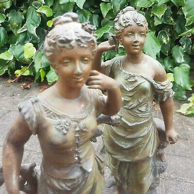 Pair of Antique French Patinated Spelter Figures ~ Titled 'Le Reve' & 'L'echo'