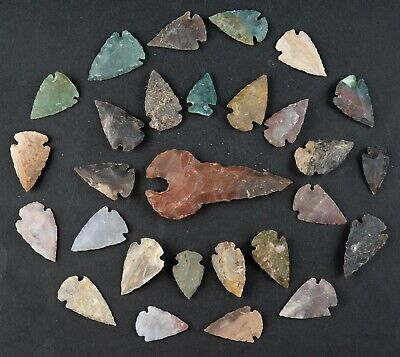 "28 PC Flint Arrowhead Ohio Collection Points 1-3"" Spear Bow Stone Hunting 1590"