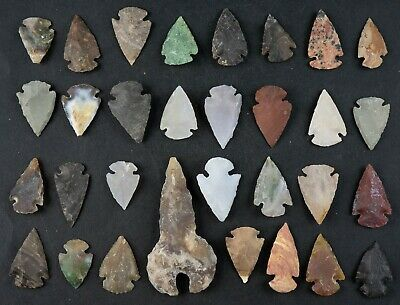 "31 PC Flint Arrowhead Ohio Collection Points 1-3"" Spear Bow Stone Hunting 1588"