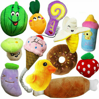 12X Pet Dog Soft Chew Toy Puppy Doggy Plush Sound Eggplant Carrot Squeaker Toy G