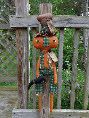 FoLk Art PrimiTive Fall HaLLoWeen PUMPKIN ScareCrow Black CrOw DOLL DecoraTion