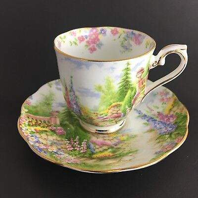 Royal Albert Kentish Rockery Small Teacup And Saucer Multi Color Gold Trim Eng