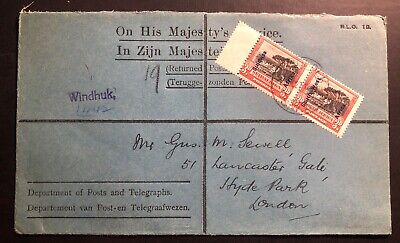 1927 Windhoek South West Africa His Majestys Service Cover To London England