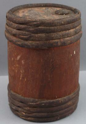 Small Antique mid-19thC, Black Powder Keg Barrel, Red Stain Willow Bands, NR