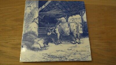 Antique  Minton Blue and White Tile - Animals : Cow and Calf.