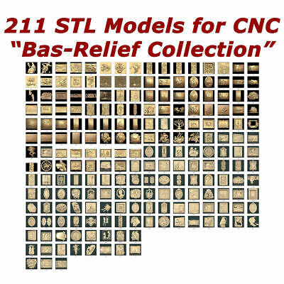 """NEW! """"Bas-Relief Collection"""" - 211 3d STL Models for CNC and 3d printers"""