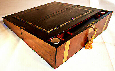 Victorian Brass Bound Writing Slope with Inkwells & Key, circa 1870