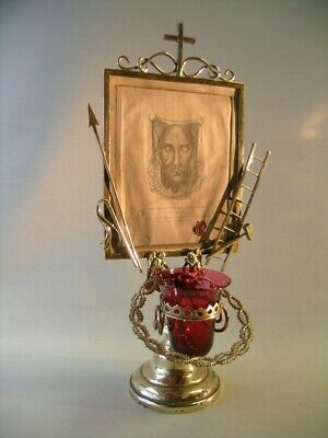 """Antique brass reliquary The Veil of Veronica or """"Holy Face of Jesus (Leo XIII)"""