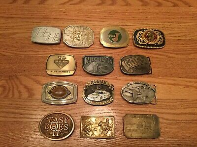 Vintage Belt Buckle Lot Collection Western Railroad Tobacco Advertising America