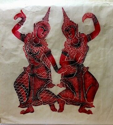 Vintage Thai Temple Stone Rubbing Art on Rice Paper Red,Black
