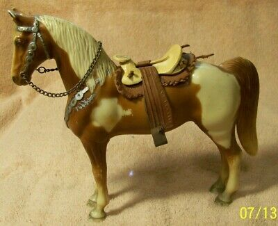 Nice Vintage Brown & White HORSE With Leather/Wooden SADDLE