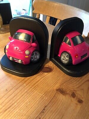 Pink VW Beetle Bookends x2 (Pair)Wonky Wheels, Novelty, Large, Volkswagen.