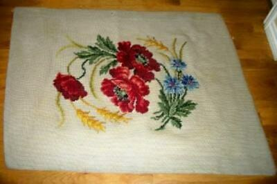 ANTIQUE FRENCH NEEDLEPOINT RUG POPPIES HANDMADE AUBUSSON 1920's CHIC SHABBY