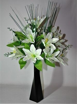 PicClick UK & ARTIFICIAL FLOWER ARRANGEMENT Luxury White Lilies And Buds ...