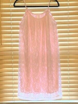 Vintage 1960s Avian Double Layered Lace Over Nylon Pink Nightie. Size Large