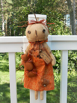 FoLk Art PrimiTive Fall Harvest HaLLoWeen Stack SaLe PUMPKIN DOLL DecoraTion TaG