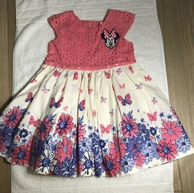 Baby Girls Disney Mini Mouse Dress Pink Floral Layered Age 12-18M (N2)