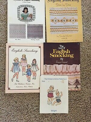 English Smocking Patterns and Instructions lot of 4 booklets and 1 pattern