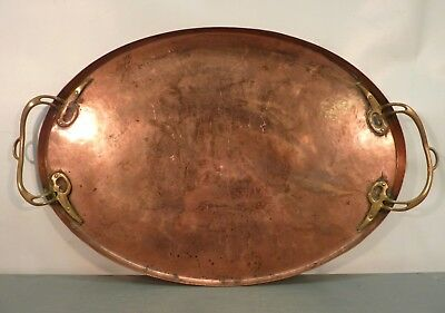 Large Antique WMF COPPER TRAY Hand Hammered Platter Ostrich Makers Mark Vtg