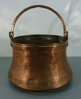 Large Antique Hand Hammered Dovetailed Copper Cauldron Kettle Apple Butter Pot