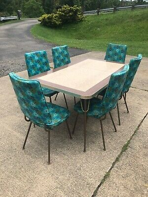 1950's Mid Century Retro Formica Chrome Dining Set Table and Chairs