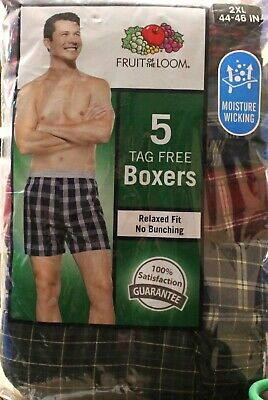 """Fruit of the Loom Men's 5-Pack Woven Tartan Plaid Relaxed Fit Boxers 2XL 44""""-46"""""""