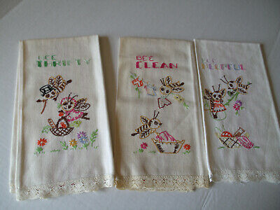 Vintage Red Striped Linen Tea Towels, Dish Towels-Hand Embroidered-Bees- 3