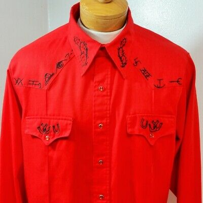 VTG Men's Sears Western Shirt Hand Embroidered Snap Red Black