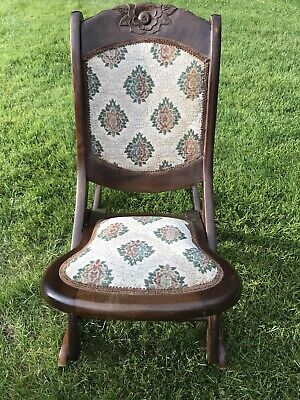 Antique Folding Rocking Chair Tapestry Padded Early 1900's