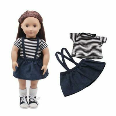 2Pcs/Set Girl Baby Doll Clothes Shirt Skirt For 18in Dolls Kid DIY Gifts Blue w