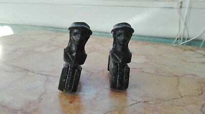 Vintage Antique French Pair Iron Shutter Latch Window Holder Belgium Lady Face