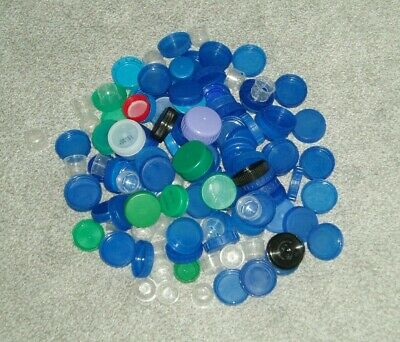 PLASTIC MILK BOTTLE TOPS x 140 ASSORTED COLOURS ART/CRAFTS/SCHOOL/HOME PROJECTS