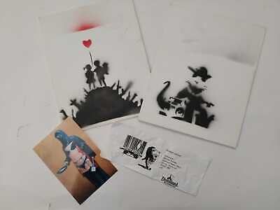 BANKSY Spray on cardboard Original Dismaland Souvenir lot stencil .