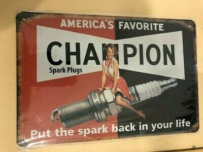 Champion Spark Plug with lady Tin Sign Bar Shed Garage Man Cave