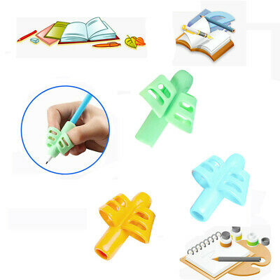 3PCS Silicone 2Fingers Grip Kid Baby Pen Pencil Holder Help Learn Writing Tool