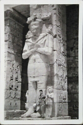 Egypt Vintage Photograph A man Takes A Picture Of Ancient Egyptian Statues