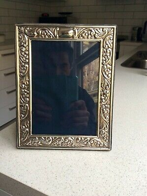 Hallmarked English Sterling Silver Photo Picture Frame ornate border